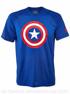 Under Armour Captain America Shield T-Shirt Boys Alter Ego UA Heatgear Blue New