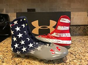 Under Armour Freedom Stars Stripes USA Flag WWP Football Cleats Wounded Shoes