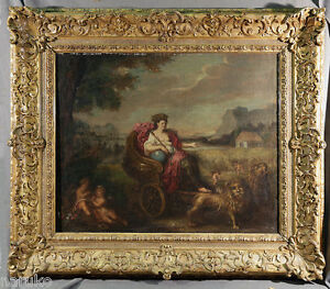PRIMITIVE OLD MASTERS PAINTING  QUEEN ON HER CARRIAGE PULLED BY LIONS with PUTTI
