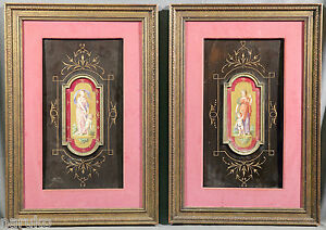 MOST ATTRACTIVE MATCHED PAIR OF PARIS PLAQUES  IN FANCY FRAMES VERY CLASSY