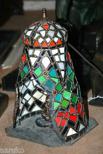 LEADED STAINED GLASS wJEWELS AUSTRIAN TENT LAMP wARAB MAN INSIDE PLAYING A LUTE