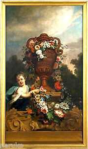 DUTCH PAINTING CHILD AT BASE OF GORGEOUS URN FESTOONED FLOWERS GREAT BY TIEMAN