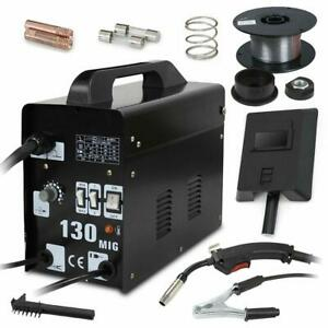 MIG 130 Welder Flux Core Wire Automatic Feed Welding Machine W Cool Face Mask $112.98