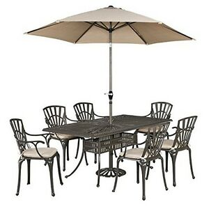 Home Styles 5561-3786C Largo 7PC Dining Set wUmbrella and Cushions Taupe NEW