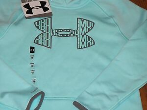 NWT UNDER ARMOUR YOUTH GIRLS M 10-12  SEWN BLUE  ARMOUR LOGO HOODIE SWEATSHIRT
