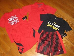 NWT UNDER ARMOUR & NIKE 44T SEWN LOGO SHIRTS & SHORTS OUTFIT SETS POLO