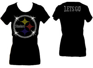 ALL RHINESTONE STEELERS LETS GO FOOTBALL SCOOP NECK WOMANS BLING TEE SHIRT