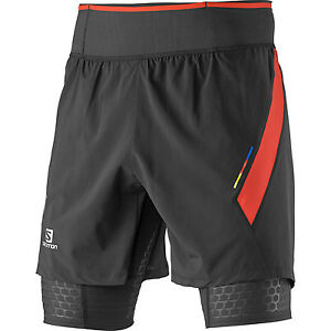 Mens New Salomon S-Lab Exo Twinskin Running Shorts Size Small Black - Racing Red