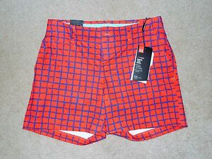 UNDER ARMOUR FITTED WOMEN'S GOLF SHORTS RED BLUE SZ 14 NEW NWT POLYESTER $74.99