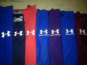 NICE LOT 9 UNDER ARMOUR FITTED TIGHT COMPRESSION SS ATHLETIC SHIRTS MENS L