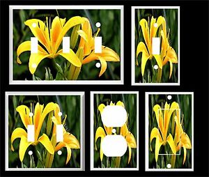 YELLOW DAY LILY LIGHT SWITCH COVER PLATE