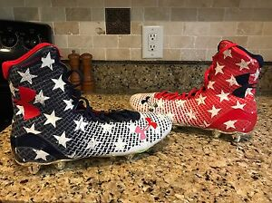 Under Armour Stars Stripes Tribute USA Flag WWP Football Cleats Wounded Shoes
