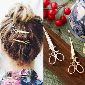 2Pcs Chic Scissors Shape Hair Clip GoldSilver Hair Pin Women Hair Accessory W8