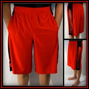 Under Armour Red Black AthleticBasketballWorkout Short Sz (L) Large #8013
