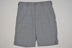 Under Armour Size 34 Gray Plaid Moisture Wicking Flat Front Golf Casual Shorts