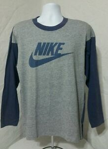 Vtg 80s Nike Blue Tag Baseball T-shirt Tri Blend Men's Large Blue Gray USA