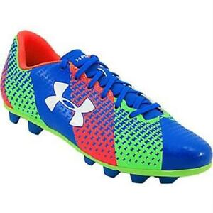 BoysGirls Youth UNDER ARMOUR CF FORCE HG Jet Blue Sport Cleats Shoes NEW