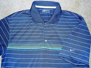 NIKE FIT DRY MEN'S GOLF POLO SHIRT BLUE TEAL WHITE YELLOW MEDIUM POLYESTER USED