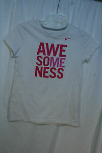 Girls Short Sleeve T-Shirt NIKE pink white Sports AWE SOME NESS sz L vgc