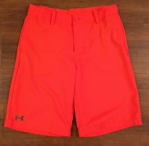 Boys UNDER ARMOUR Loose Fit Orange Golf Shorts Size YLG Youth Large L WORN 1x