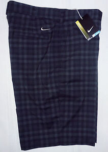 Nike Golf 452712-010 Dri-Fit Black Checkered Flat Front Golf Shorts Mens Size 33