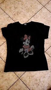 Sz ML Dolce Gabba Womens Black T-Shirt Disney Minnie Mouse Crystal Jewel Italy