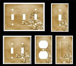 BROWN HEART AND LEAVES CONTEMPORARY DECOR  LIGHT SWITCH COVER PLATE