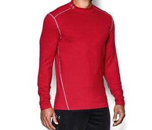 New Under Armour Evo ColdGear Mock LS Fitted Shirt Size Men's Large L Red