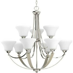 Progress Noma 9 Light 34 Chandelier, Polished Nickel Etched P400013 104