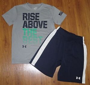 Lot 2 Boys UNDER ARMOUR Graphic Loose T-Shirt Athletic Classic Shorts YSM Small