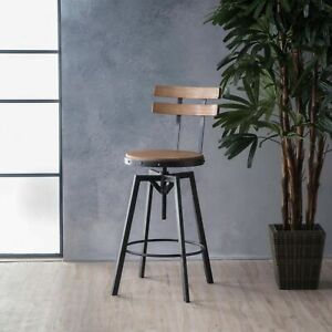 Poe Anique Finish Firwood Height Adjustable Bar Stool
