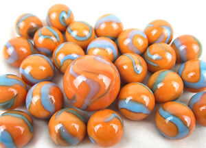 25 Glass Marbles SEAHORSE Orange Blue Classic vtg Style Game Pack Shooter Swirl