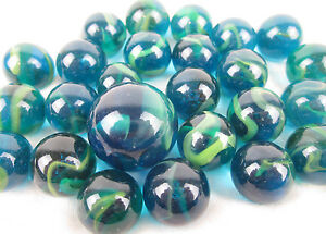 25 Glass Marbles SEA TURTLE Sea Blue Green Translucent Game Pack Shooter Swirl