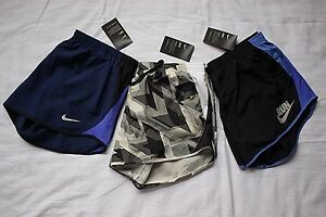 LOT 3 NEW Women's NIKE Black Blue DRY Dri Fit RUNNING Athletic Gym SHORTS Large