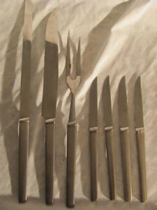 mid century Austria stainless knives, serving fork, knives,