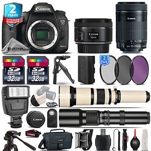 Canon EOS 7D Mark II Camera + 50mm 1.8 + 55-250mm IS STM +2yr Warranty -64GB Kit