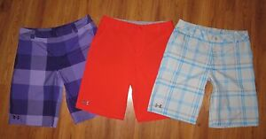 Lot 3 Pair Youth Boys XL UNDER ARMOUR Forged Novelty Plaid Loose Golf Shorts YXL
