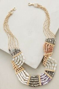 NWT Anthropologie Quotient Statement Beaded Bib Necklace