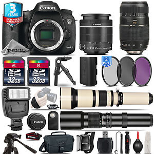 Canon EOS 7D Mark II DSLR Camera + 18-55mm + 70-300mm + 3yr Warranty - 64GB Kit