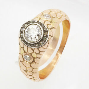 Antique Imperial Russian Genuine Signed Faberge Man's Ring Gold Diamonds (#5512)