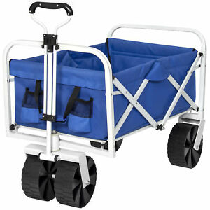 BCP Folding Utility Wagon Garden Beach Cart w/ All-Terrain Wheels - Blue