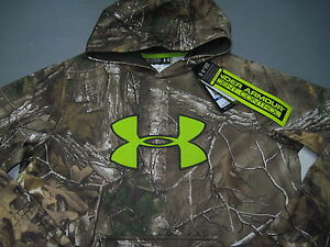 NWT Under Armour Camo Realtree BIG LOGO Hoodie Sweatshirt Boys Youth XL Loose