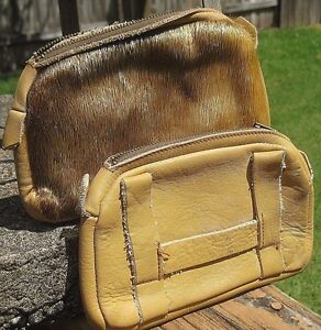 Vintage Handmade Lot of 2 Mountain Man Belt Pouch Bags Genuine Leather