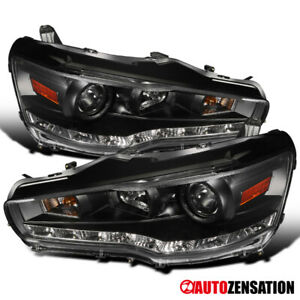 For 2008 2015 Mitsubishi Lancer EVO 10 SMD LED Strip Black Projector Headlights