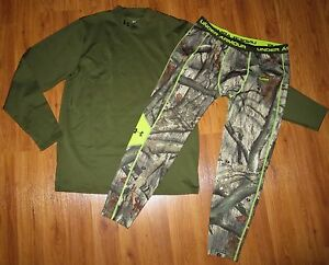 Men's UNDER ARMOUR ColdGear EVO Infrared Mock Shirt Scent Control Camo Pants 2XL
