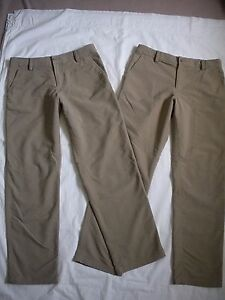 UNDER ARMOUR -LOOSE- 2 PAIR--BEIGE NYLON BLEND STRETCH GOLF PANTS ~ YOUTH LARGE