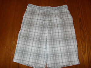 NIKE GOLF DRI-FIT FLAT FRONT WHITE & GRAY PLAID SHORTS MENS 30 WASIT EXCELLENT