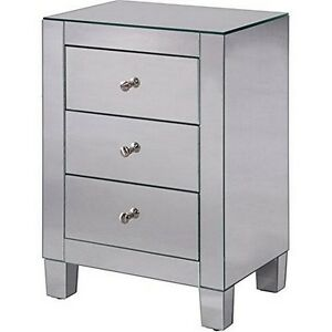 Elegant Decor  3 Drawers Cabinet 17-34 In. X 13 In. X 25 In. In Clear Mirror