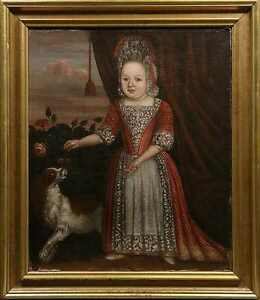 PERIOD PAINTING FROM THE COURT PRINCESS MARIA THRESA LOUISA WITH HER DOG