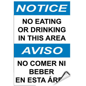 Notice No Eating Or Drinking In This Area Hazard Sign LABEL DECAL STICKER